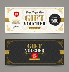 Template Gift voucher with glitter gold vector image