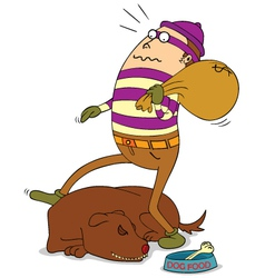 Thief and sleeping dog vector