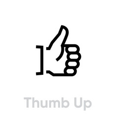 thumb up icon editable outline vector image