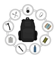 Traveler black backpack contents vector