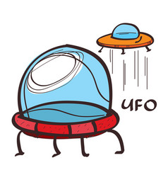 ufo colored in hand drawing style vector image