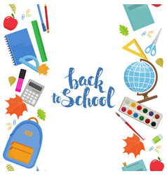 Vertical seamless borders of education items vector
