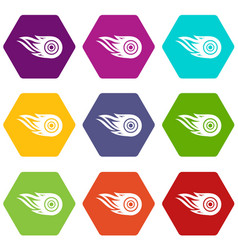 wheel fire icons set 9 vector image