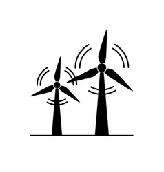 Wind turbine silhouette icon in flat style vector