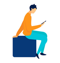 woman using smartphone flat vector image