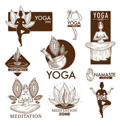 yoga meditation studio icons vector image