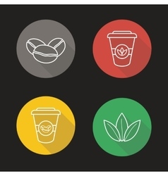 Coffee and tea flat linear long shadow icons set vector image