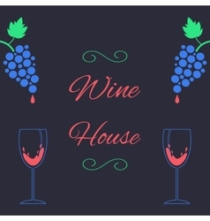 concept of wine house with bunch of grapes and vector image vector image