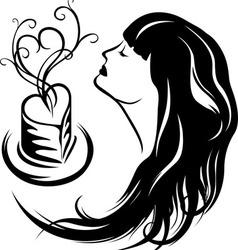 Girl enjoying the aroma of coffee vector image vector image