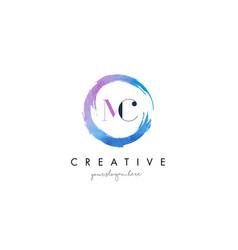 mc letter logo circular purple splash brush vector image vector image