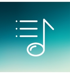 Musical note with bar thin line icon vector image