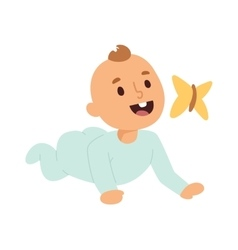 Baby kid and butterfly vector image vector image