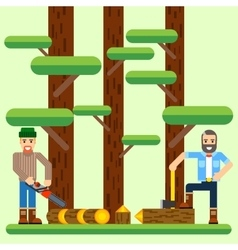 Lumberjack with axe and saw in the forest vector image vector image