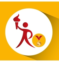 olympic gold medal athlete torch icon vector image