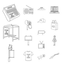 production of advertising outline icons in set vector image vector image