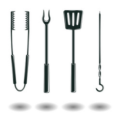 set of monochrome bbq equipments signs vector image