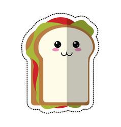 cartoon sandwich tasty food vector image vector image