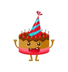 Chocolate And Cherry Birthday Cake In Party Hat vector image vector image