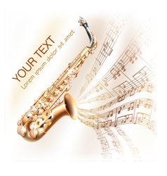Classical saxophone on musical notes backgroud vector image