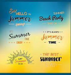 enjoy the summer time logo template vector image
