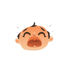 flat baby face with sad facial expression vector image