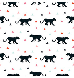 silhouette of leopard seamless white pattern vector image vector image