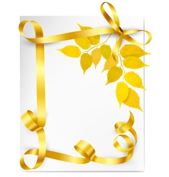 Autumn background with yellow leaves and gold vector image