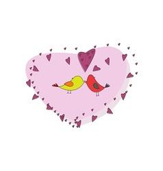 Birds hearts and love vector