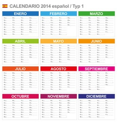 Calendar 2014 Spain Type 1 vector image