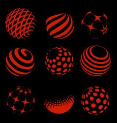 Halftone red spheres set vector