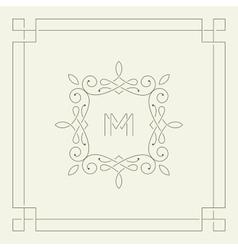 M monogram frame template vector
