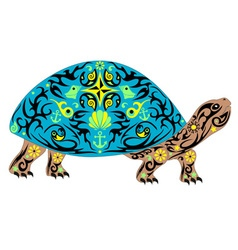 overland turtle blue vector image vector image