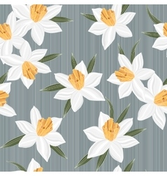 Seamless jonquil flower pattern background vector image