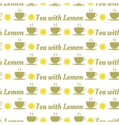 seamless pattern of tea and lemons vector image
