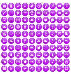 100 childhood icons set purple vector