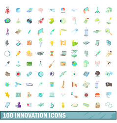 100 innovation icons set cartoon style vector