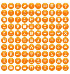 100 intelligent icons set orange vector