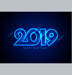 2019 happy new year neon text background vector