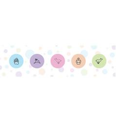 5 deer icons vector