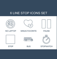 6 stop icons vector image