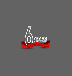 6 years anniversary line style white color vector