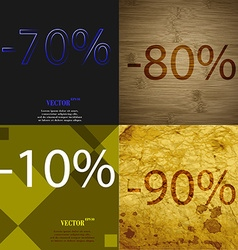 80 10 90 icon Set of percent discount on abstract vector