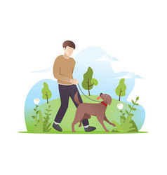a man walking with his dog vector image