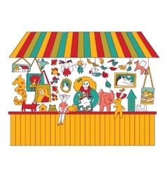 Art hand made fair toys seller isolate on white vector