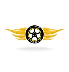 Auto car whell with fire wings logo vector