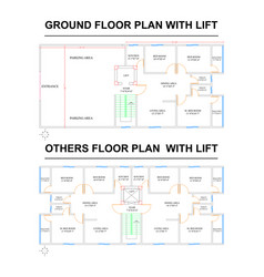 Autocad 2d ground and others floor plan with lift vector