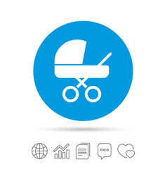 baby pram stroller sign icon baby buggy symbol vector image