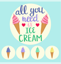 Background with colorful ice cream cones and vector