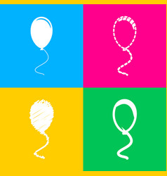 balloon sign four styles of icon on vector image
