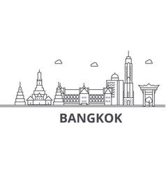Bangkok architecture line skyline vector